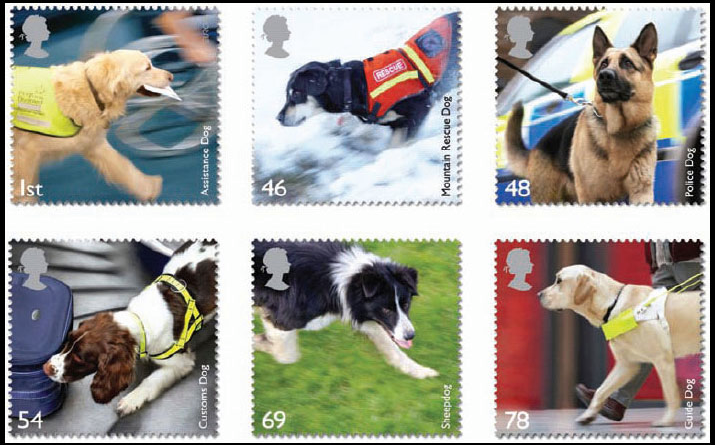 dogs, purebred dogs, stamps,Working Dogs stamps of the UK