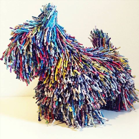 Scottish Terrier, Scottie,dogs,purebred dog,papier mache,Gosia Walton