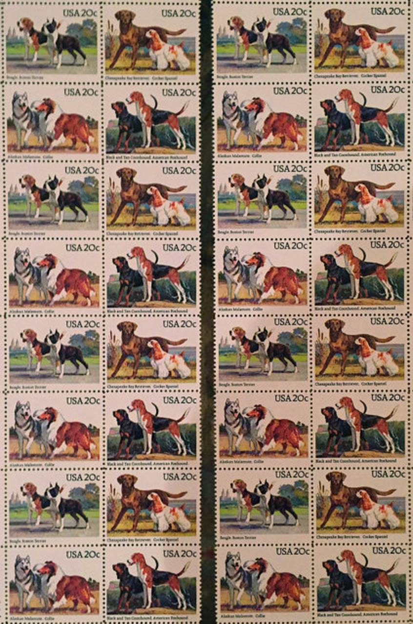 Black and Tan Coonhound,American Foxhound,Beagle,Boston Terrier,Chesapeake Bay Retriever,Cocker Spaniel,Rough Collie,Alaskan Malamute,postage stamp,stamp,Roy Andersen,Japanese Chin,