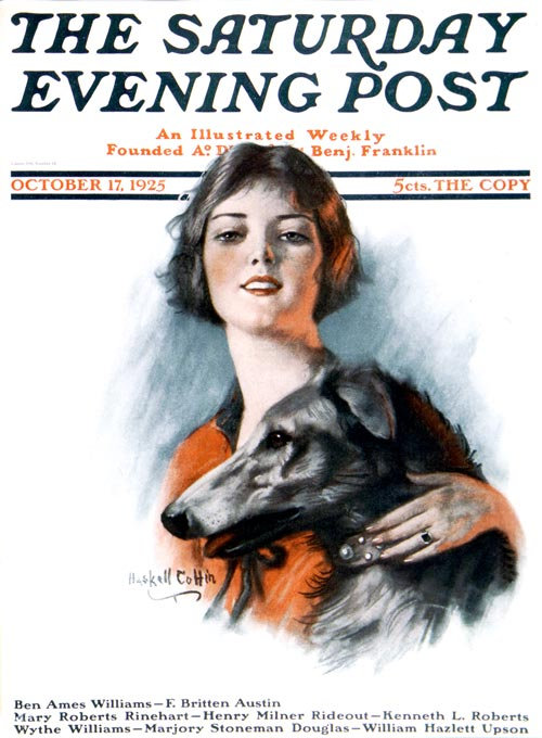 Irish Wolfhound,Woman and Wolfhound,dogs,purebred dog,Saturday Evening Post,W.H. Coffin
