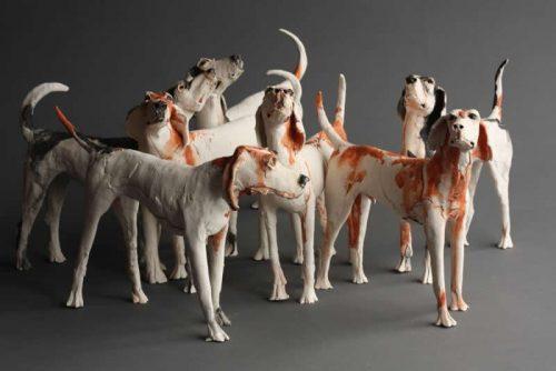 Ostinelli & Priest,hounds,ceramics,art,dogs,