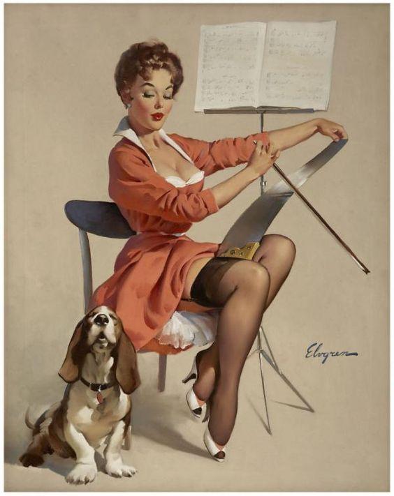 pin up,Gil Elvgren,great dane,scottish terrier,basset hound,fox terrier,art