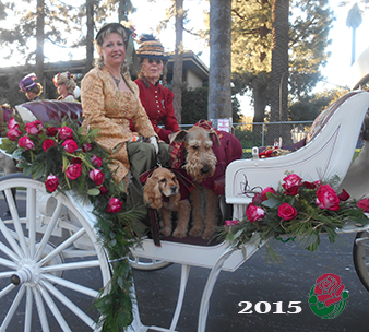 Cocker Spaniel,airedale,Victorian Roses Ladies Riding Society,tournament of roses, parade
