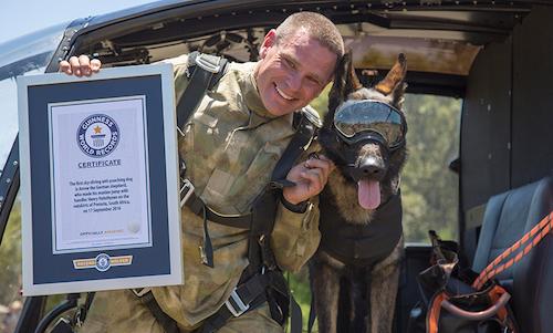Guinness World Record,German Shepherd Dog,Dachshund,skydiving,conservation dog
