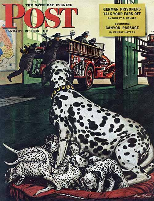 Dalmatian,Stevan Dohanos,Art, magazine,Old English Sheepdog,National Stamp Advisory Committee,Saturday Evening Post