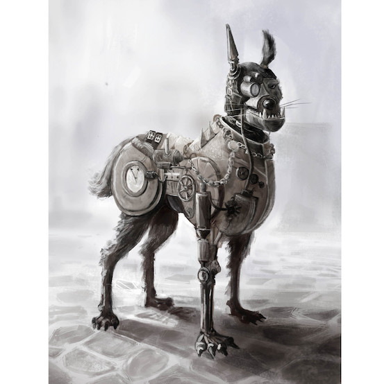 Steampunk,art,sculpture,French Bulldog,