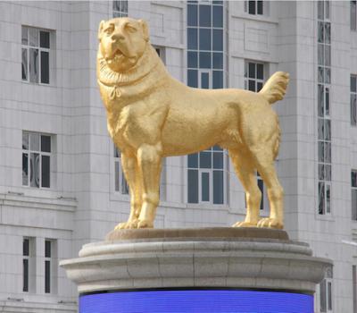 Central Asian Shepherd,Turkmenistan, Gurbanguly Berdymukhamedov', wolf crusher,Arkadag, statue,monument