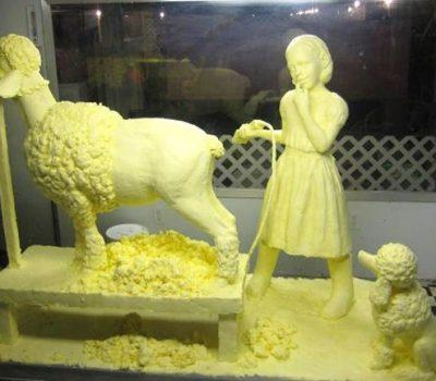 Poodle, Caroline Shawk Brooks,butter, sculpture,art,